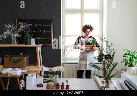 Sorridente giovane donna azienda fiori in una scatola di cartone in un piccolo negozio Foto Stock