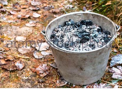Benna riempita con cenere di legno dal forno Foto Stock