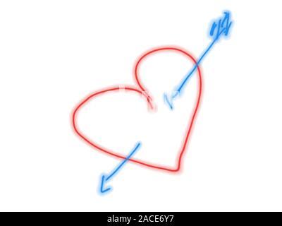 Cuore rosso trafitto da una freccia blu, disegnato a mano.