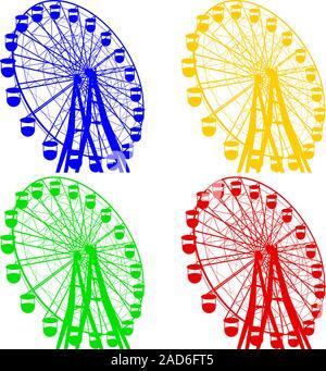 Silhouette atraktsion colorata ruota panoramica Ferris. Illustrazione Vettoriale.