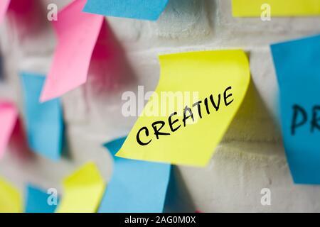 Business plan realizzato con note colorate sul muro bianco
