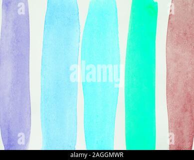 Acquerello sfondo astratto con multicolore strisce verticali, del disegno a mano