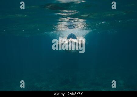 Atleta maschile nuoto in mare Foto Stock