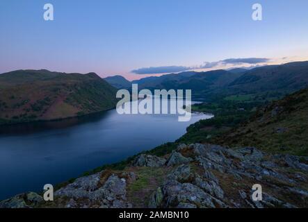 Sunset over Ullswater Foto Stock