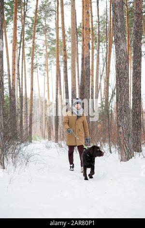 Giovane uomo in un winterwear casual che tiene guinzaglio mentre segue nero Retriever Foto Stock