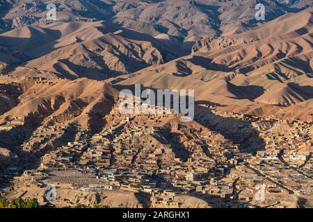 Vista con drone su Bamyan, Shahr-e Gholghola (città Di Urla) rovine, Bamyan, Afghanistan, Asia
