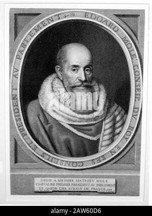 1653, FRANCIA : IL politico francese EDOUARD MOLE ( Édouard Molé , 1540 - 1614 ), ritratto inciso da Robert Nanteuil ( 1623 - 1678 ). Padre di po