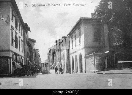 Italiano: San Giovanni Valdarno - Il tram; 1 gennaio 1930; Foto d'epoca; Unkno n;