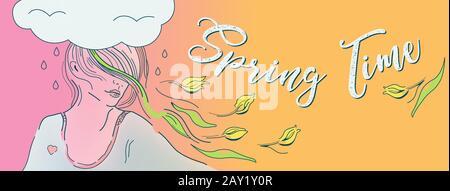 Illustrazione della copertina facebook primavera-tempo, ragazza di umore romantico, donna con capelli volanti e tulipani gialli. Fiori nella Giornata della Donna. Problemi psicologici