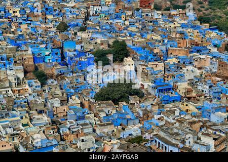 Vista aerea della città blu di Jodhpur, Rajasthan, India