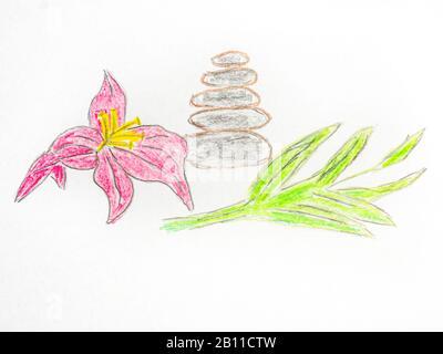 Bilanciamento roccia dipinto con un fiore di loto Foto Stock