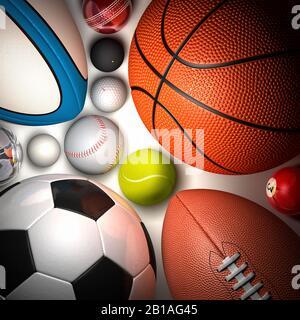 Palle di vari sport sparati dall'alto. Famiglia di palle. Calcio, pallacanestro, tennis, rugby, baseball, cricket, golf, squash, bocce, piscina, ping pong
