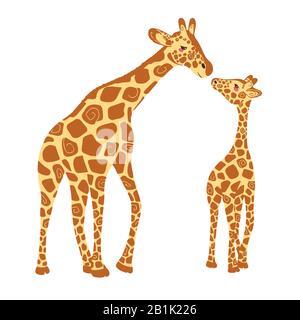 Due graziosi giraffe isolato su uno sfondo bianco. Una giraffa di bambino e di adulto giraffa. Illustrazione Vettoriale Foto Stock
