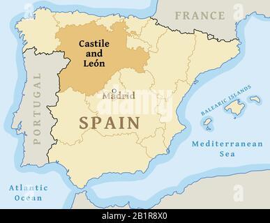 Leon Spagna Cartina.Mappa Vettoriale Della Comunita Autonoma Di Castiglia E Leon Castilla Y Leon Spagna Foto Stock Alamy