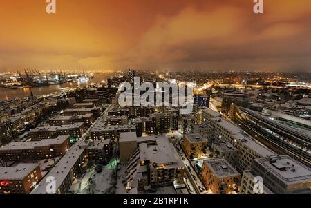 Amburgo centro città, neve, porto, Reeperbahn, panorama, Neustadt, Amburgo, Germania,