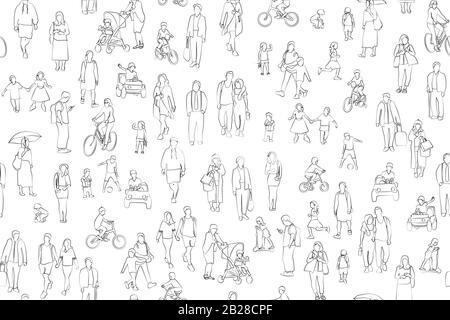 Folla di persone illustrazione vettoriale . Gruppo di personaggi di cartoni animati per adulti e bambini di sesso maschile e femminile su sfondo bianco. Foto Stock