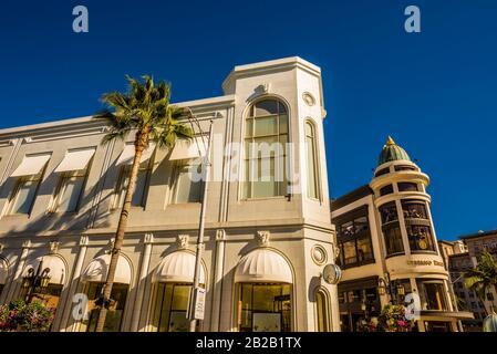 Rodeo Drive, strada dello shopping di lusso), Beverly Hills (Los Angeles), California USA.