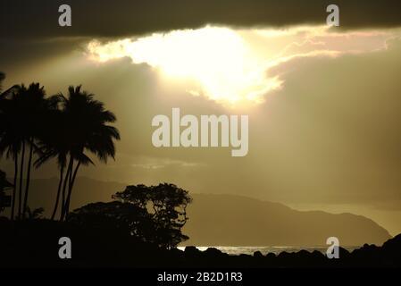 Tramonto spettacolare, con nuvole che piercing raggi del sole, palme silhouette sulla costa costiera sulla costa settentrionale di Oahu, Haleiwa, Hawaii, USA Foto Stock