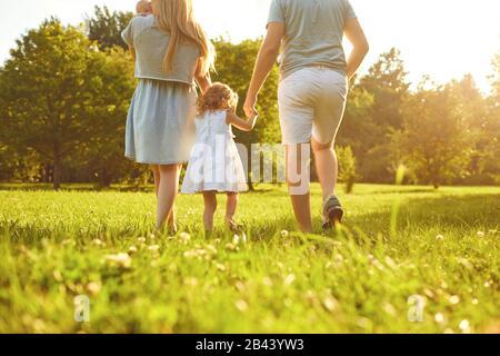 Buona famiglia a piedi sull'erba nel parco estivo. Madre padre e bambini che giocano in natura. Foto Stock