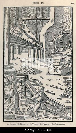 Metallo fondente Georgius agricola De re metallica, tradotto in inglese dal latino 1st ed. Del 1556, stampato a Londra dalla rivista Mining nel 1912