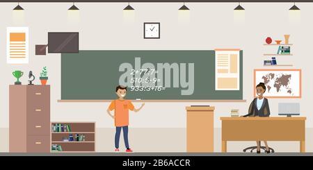 Scuola di cartone animato interno in classe, studente caucasico in classe alla lavagna e insegnante seduto al tavolo, illustrazione vettore piatto