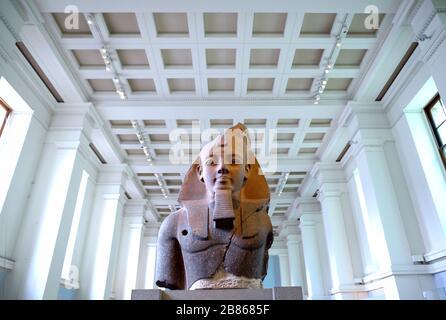 Statua di re Ramesse II al British Museum, Bloomsbury, Londra, Inghilterra, Regno Unito.