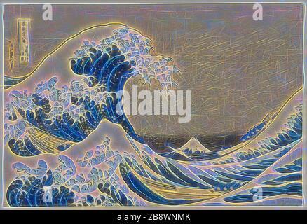 Sotto l'onda di Kanagawa (Kanagawa oki nami ura), conosciuta anche come la Grande onda, dalla serie trentasei viste del Monte Fuji (Fugaku sanjurokkei), 1830/33, Katsushika Hokusai ?? ??, giapponese, 1760-1849, Giappone, stampa a blocchi di legno a colori, oban, 25,4 × 37,6 cm (10 × 14 3/4 in.), rivisitato da Gibon, design di calore allegro di luminosità e raggi di luce radianza. Arte classica reinventata con un tocco moderno. La fotografia ispirata al futurismo, che abbraccia l'energia dinamica della tecnologia moderna, del movimento, della velocità e rivoluziona la cultura. Foto Stock