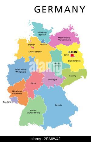 Cartina Fisica Germania Con Confini.Germania Mappa Politico Con Capitale Berlino I Confini Nazionali E I Paesi Vicini Illustrazione Di Colore Grigio Con Etichetta Inglese Foto Stock Alamy