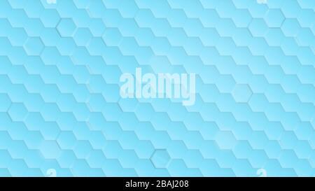 Schema esagonale trasparente su sfondo azzurro e turchese. Semplice astratto sfondo moderno in risoluzione 4k. Foto Stock