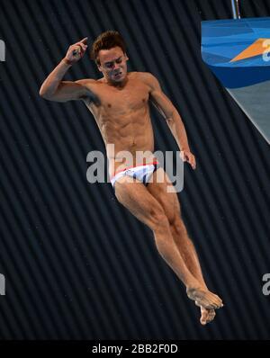 Tom Daley in azione in Gran Bretagna durante il 10m Platform SemiFinal Round del Men al Aquatic Center