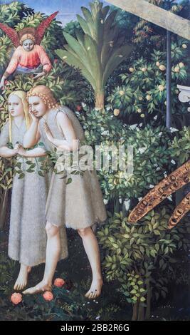 Adamo ed Eva vengono espulsi dai dettagli del Paradiso. L'Annunciazione di fra Angelico. Museo del Prado, Madrid. Foto Stock