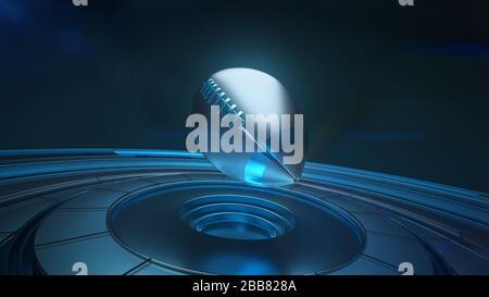 Palla di rugby blu e argento in proiezione 3D volare sopra la piattaforma per la dimostrazione Foto Stock