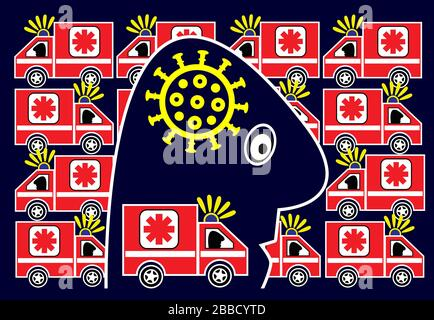 Caricatura della persona nel panico dovuto lo scoppio del virus mortale di COVID-19. Foto Stock