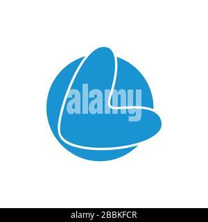 lettera l forma semplice cerchio logo Foto Stock