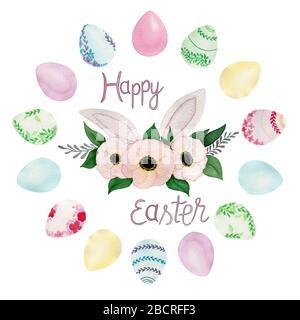 Cartolina di auguri di Pasqua modello, acquerello decorazione di Pasqua con le uova wreath, bello modello di disegno di Pasqua Foto Stock