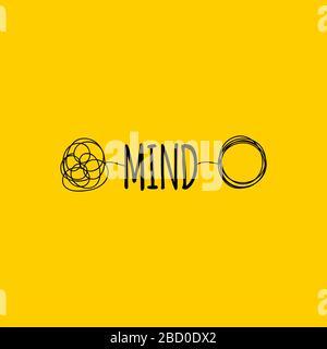 Simbolo della mente o del cervello, parola della mente di disegno della mano, segno istruente, icona di trasformazione, illustrazione del vettore