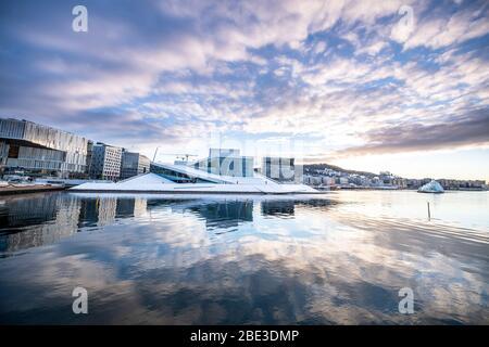 Oslo città in inverno, Norvegia