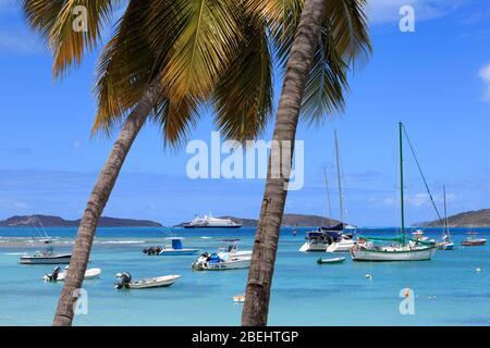 Barche a Cruz Bay, St. John, Isole Vergini degli Stati Uniti, Caraibi Foto Stock