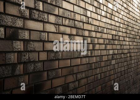Muro di mattoni in luce serale.