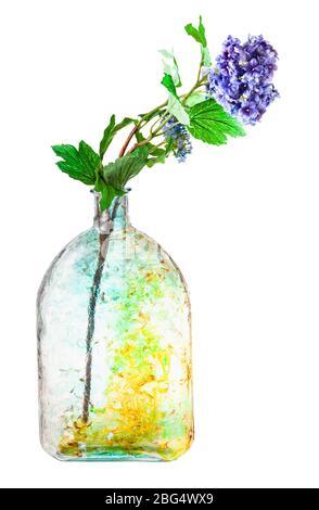 fiori artificiali di hydrangea in bottiglia di vetro dipinta a mano isolato su sfondo bianco
