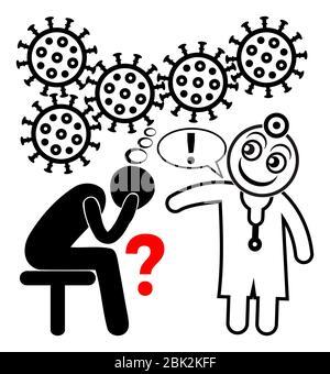 Paziente che necessita di supporto psicologico durante la pandemia COVID-19. Foto Stock