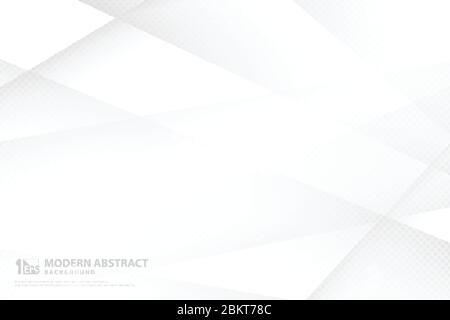 Abstract gradiente bianco e grigio tecnologia modello disegno sfondo illustrazione. Decorare per annuncio, poster, stampa, modello, copertina. Illustrazione vettore Foto Stock