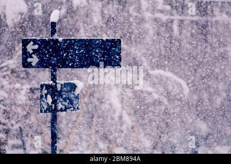 Segno blu con frecce nel mezzo della nevicata di Bariloche Argentina. Il segno dice Nuova Costituzione. Foto Stock