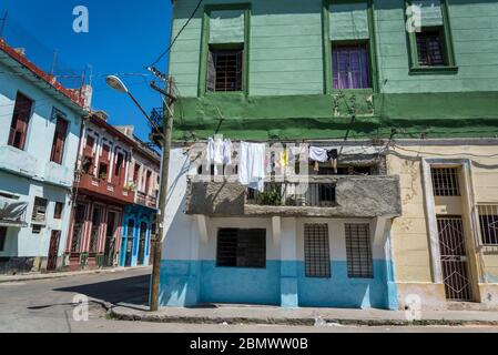 Strada residenziale nel quartiere Havana Centro, Havana, Cuba