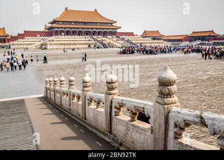Sala della suprema armonia, la Città Proibita di Pechino Foto Stock