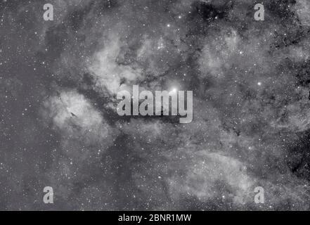La stella Sadr e gamma Cygni Nebula di Cygnus, in banda stretta monocromatica da Londra, Regno Unito