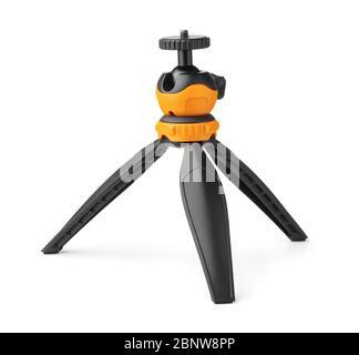 Mini treppiede da tavolo con testa a sfera isolata su bianco Foto Stock