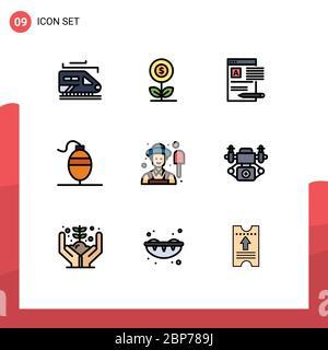 Set di 9 icone moderne dell'interfaccia utente simboli per uomini, pesca, documento, pesce, report elementi di disegno vettoriale modificabili Foto Stock