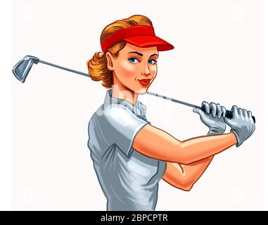 Bella donna, giocatore di golf. Illustrazione digitale