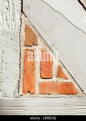 Muro di mattoni con mezzo in legno travi, città vecchia, Stade, Bassa Sassonia, Germania